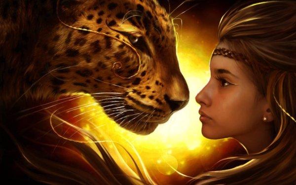 Fantasy Women Woman Girl Blonde Tiger Close-Up HD Wallpaper   Background Image