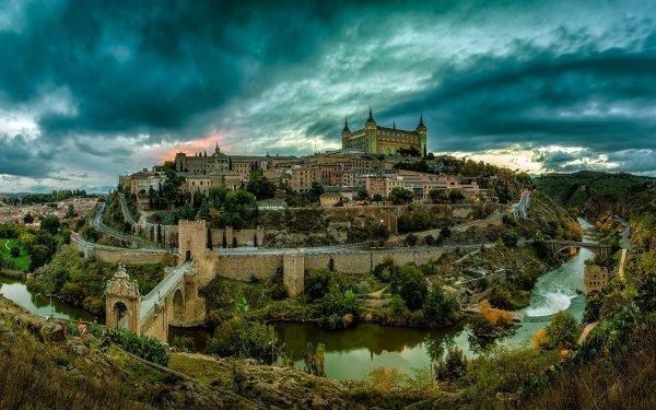 Man Made Toledo Towns Spain City Landscape Mountain House Castle River Tree Green Building Road Bridge HD Wallpaper | Background Image