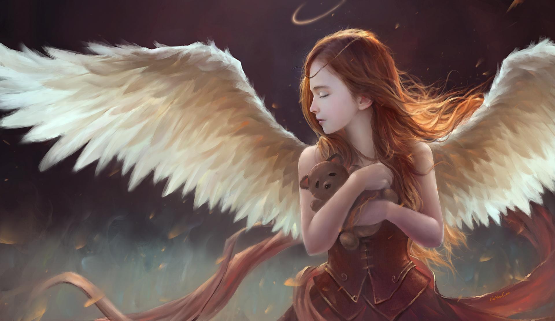 Fantasy - Angel  Wings Girl Child Fantasy Teddy Bear Wallpaper