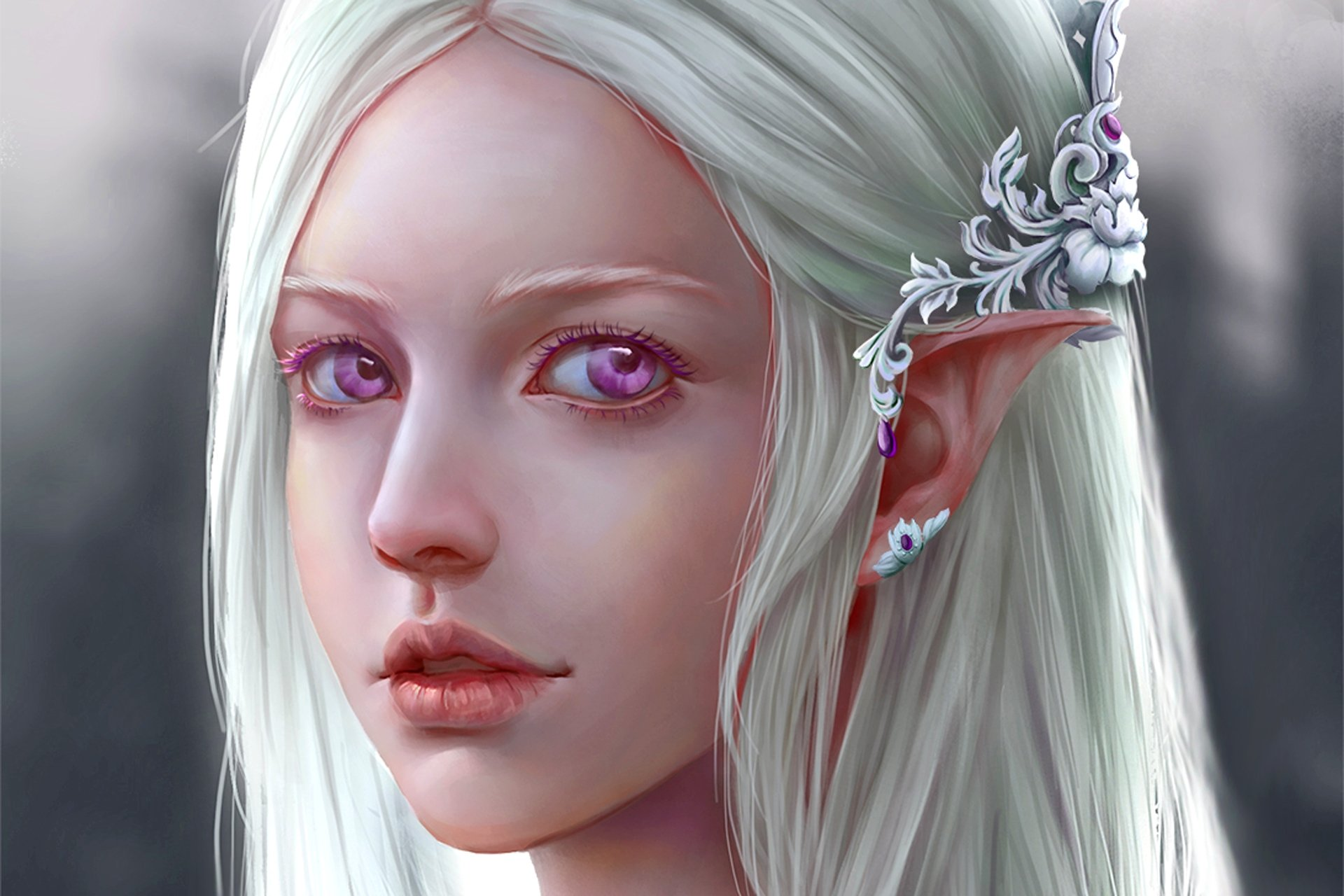Fantasy Elf With Violet Eyes Hd Wallpaper  Background Image  1920X1280  Id691929 -2262