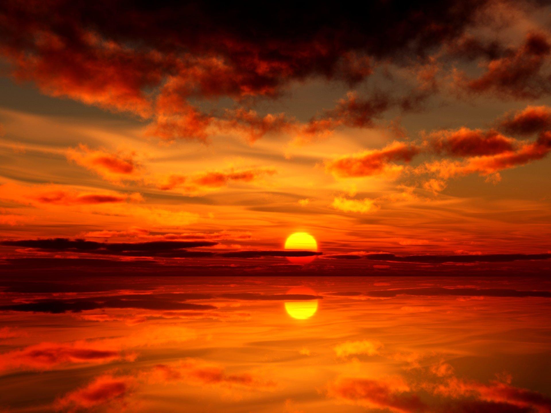 Earth - Sunset  Earth Sun Reflection Water Orange Cloud Wallpaper