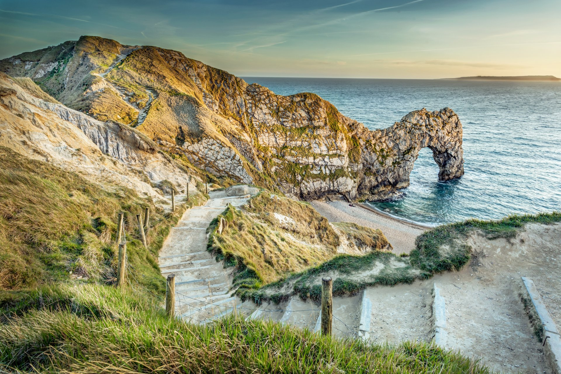 Earth - Durdle Door  Ocean Nature Stairs Beach Horizon England Wallpaper