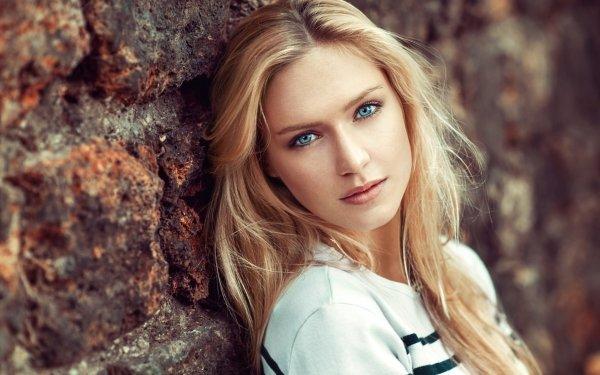 Women Eva Mikulski Models Woman Girl Blonde Blue Eyes Model Brick HD Wallpaper | Background Image