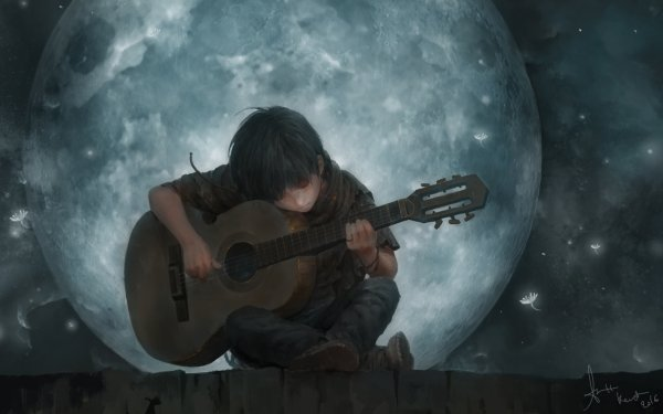 Artistic Child Guitar Moon HD Wallpaper | Background Image
