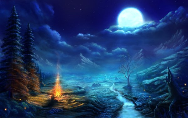 Artistic Winter Moon Campfire Tree Cloud Snow HD Wallpaper | Background Image