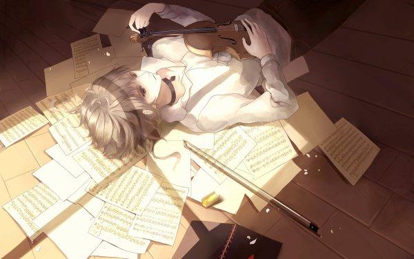 Anime Original Short Hair White Hair Violin Sheet Music HD Wallpaper | Background Image