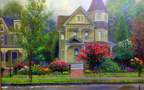 Artistic House Painting Street Spring Colorful HD Wallpaper | Background Image