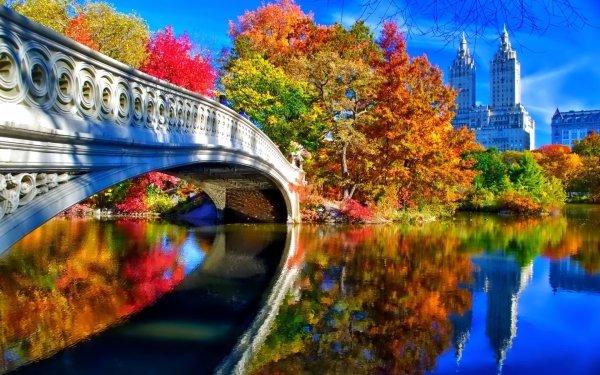 Man Made Bridge Bridges Central Park New York Fall Foliage Tree Building Reflection Bow Bridge HD Wallpaper | Background Image