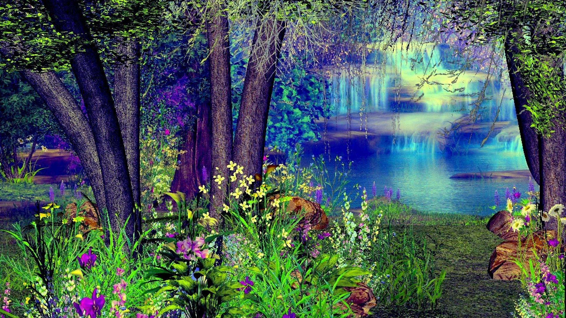 Artistic - Lake  Artistic Waterfall Tree Colors Colorful Mystic Fantasy Wallpaper