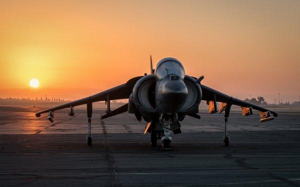 Military McDonnell Douglas AV-8B Harrier II Jet Fighters Sunset Aircraft Jet Fighter Warplane HD Wallpaper | Background Image