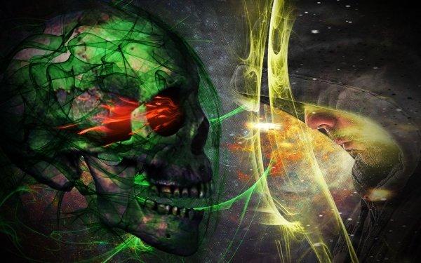 Dark Skull Head Face Green HD Wallpaper   Background Image