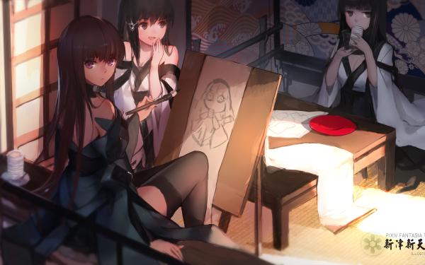 Anime Pixiv Fantasia T Long Hair Purple Eyes HD Wallpaper | Background Image