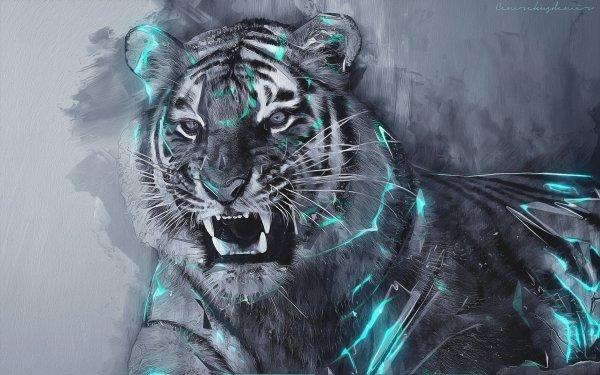 Fantaisie Tigre Animaux Fantastique Artistique Fond d'écran HD | Image