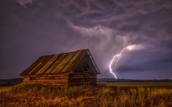 Photography Lightning Storm Barn Building Cloud Nature Earth HD Wallpaper | Background Image