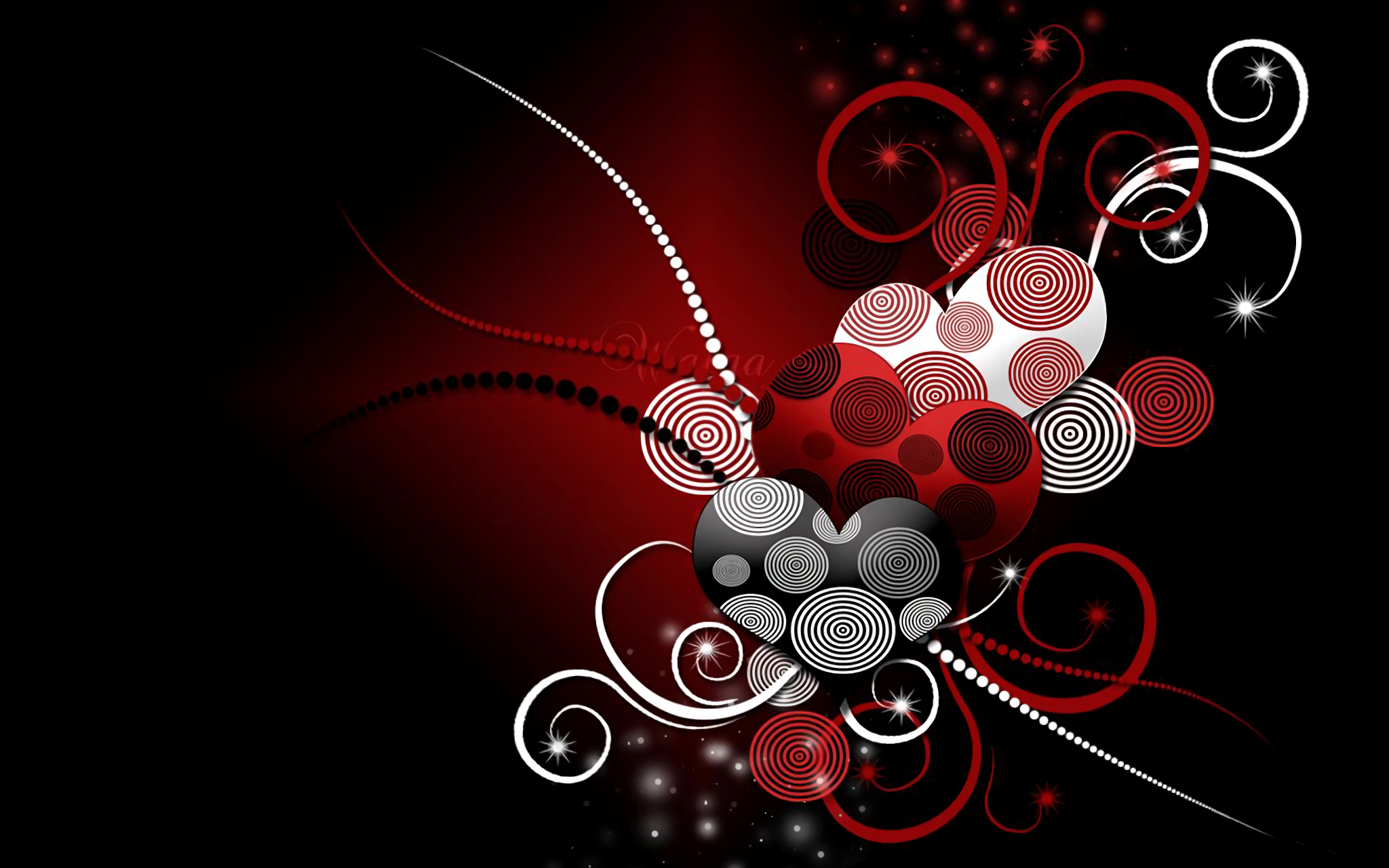 abstract hearts full hd wallpaper and background image | 2048x1280