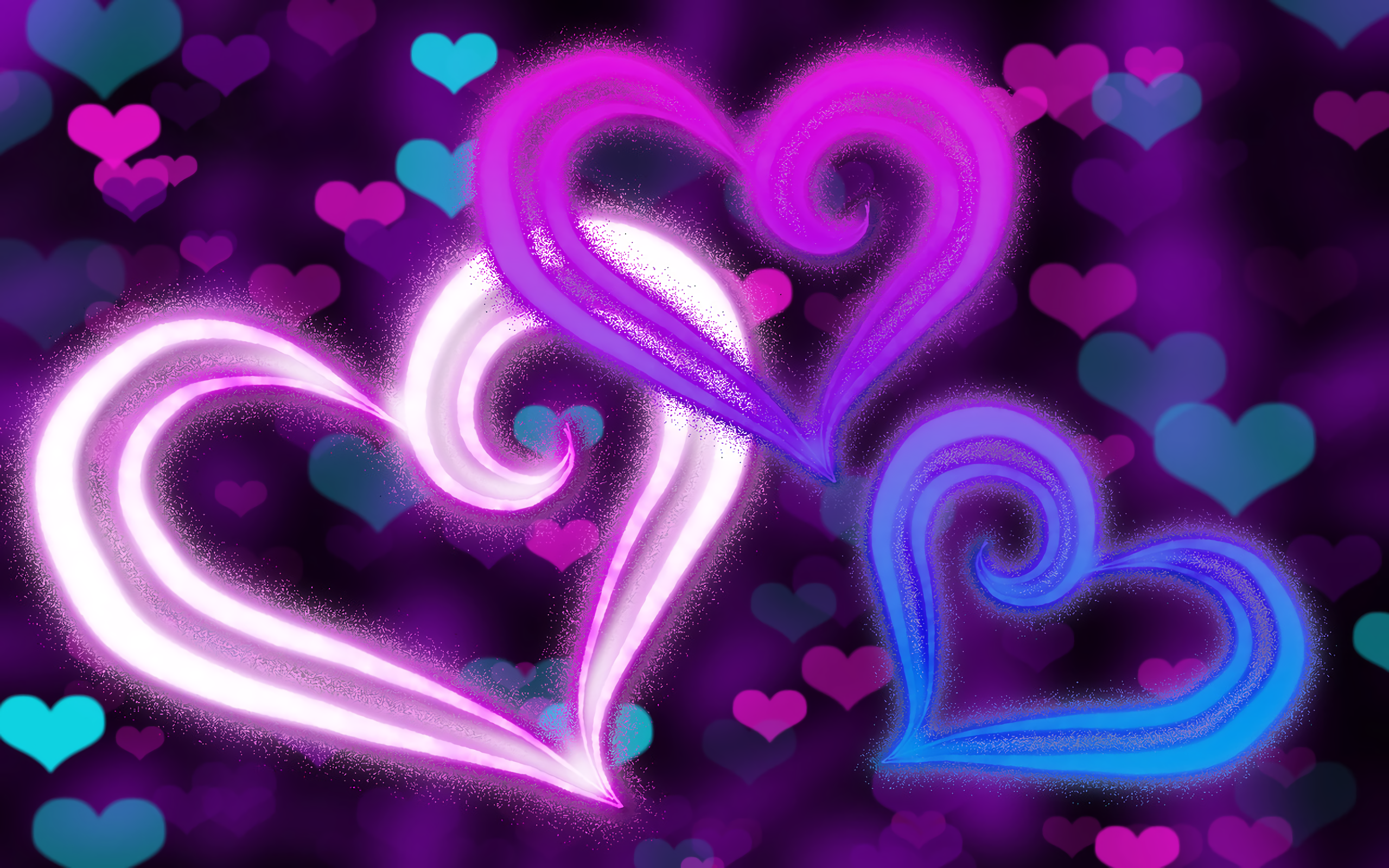 abstract hearts full hd wallpaper and background