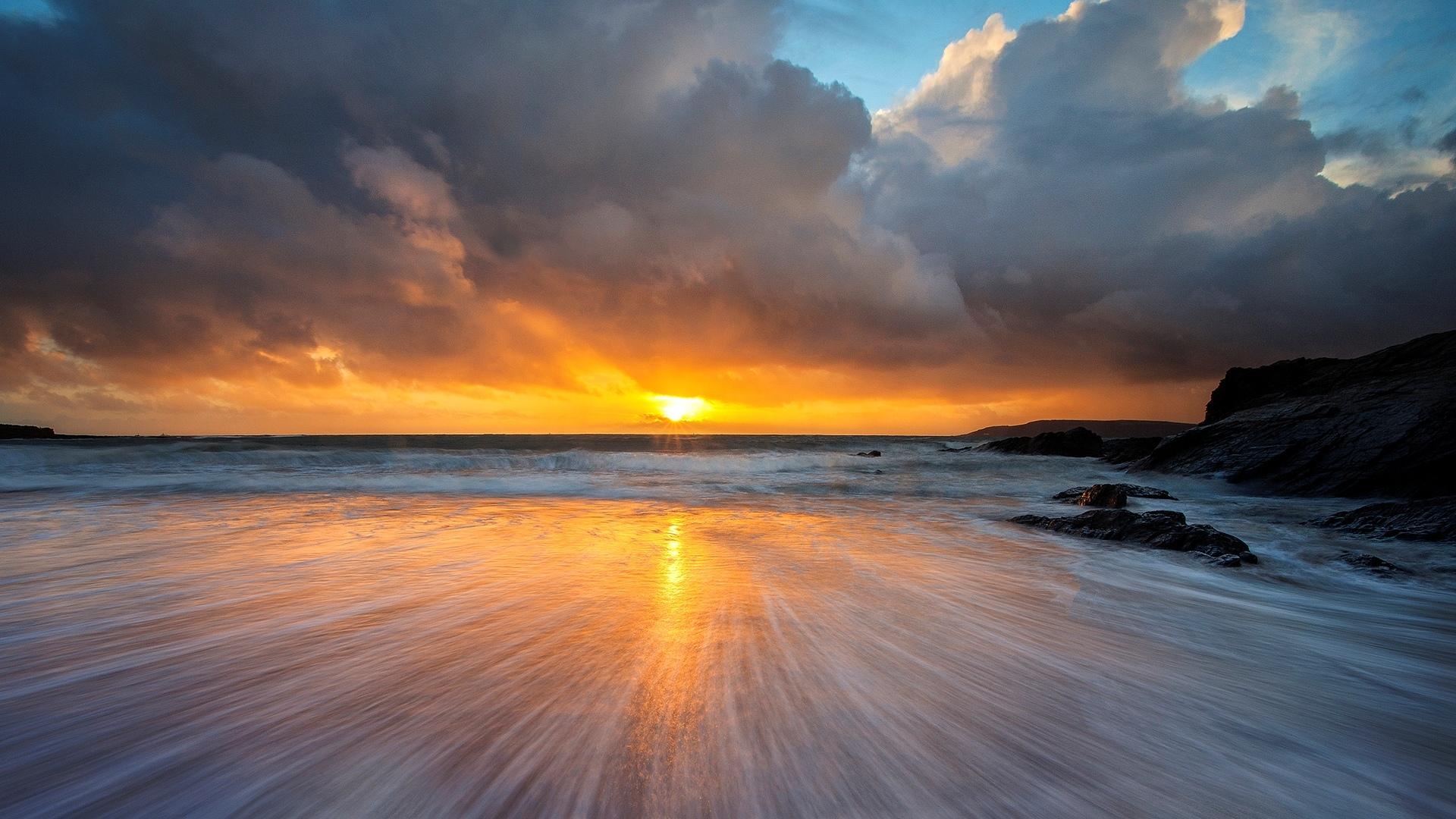 Sun Beach And Sea Wallpaper: Beach Sunset HD Wallpaper