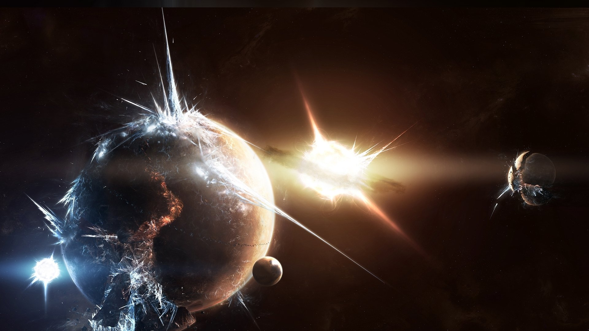 Sci Fi - Explosion  Water Universe Planet Star Sun Space Wallpaper