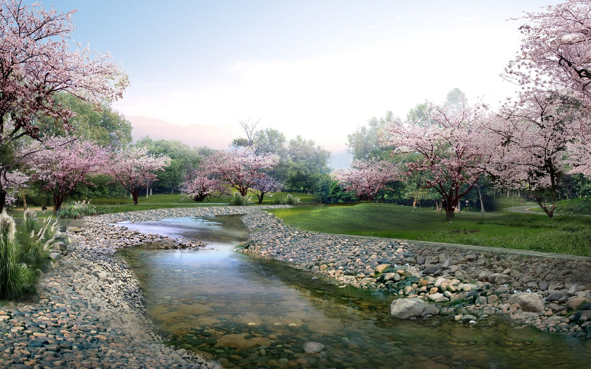 Earth - Spring  Earth Stream Tree Blossom Park Rock Stone Wallpaper