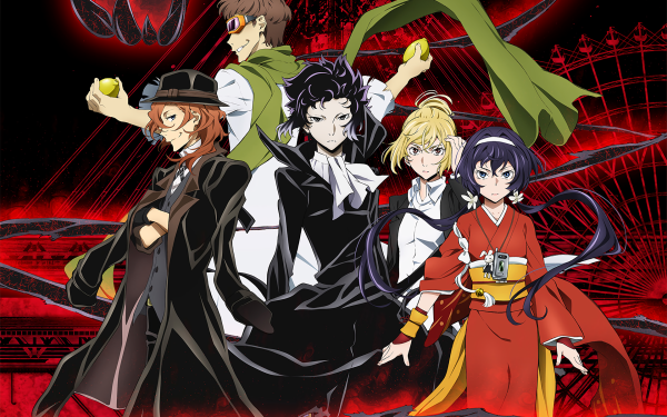 Anime Bungou Stray Dogs Ryūnosuke Akutagawa Ichiyou Higuchi Kyōka Izumi Chuuya Nakahara Motojirou Kajii HD Wallpaper | Background Image