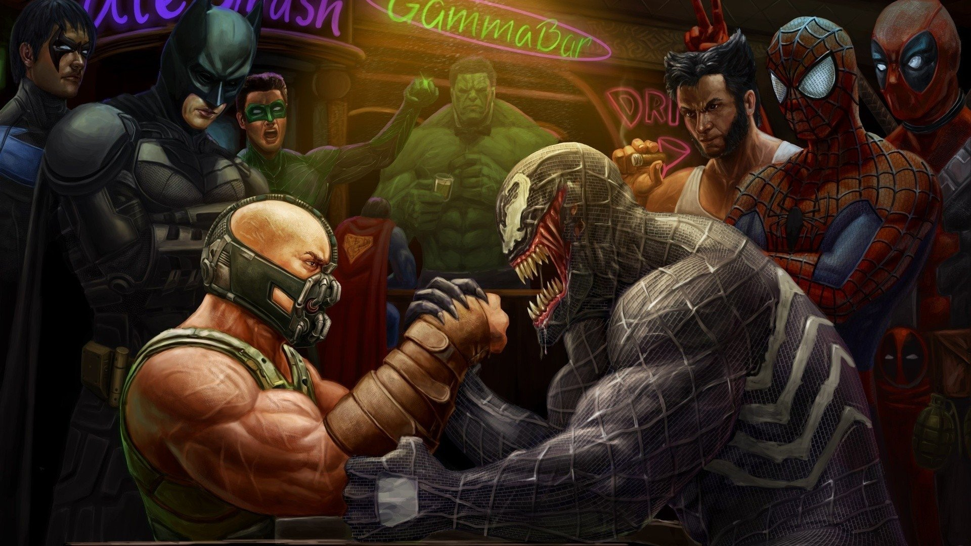 Comics - Collage  Bane (Batman) Batman Spider-Man Wolverine Green Lantern Marvel Comics DC Comics Wallpaper