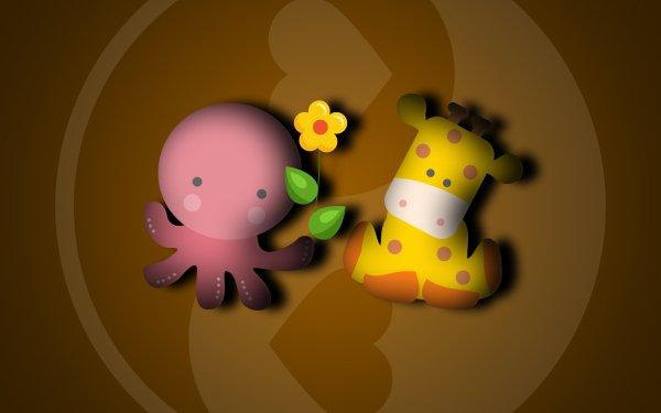 Animal Artistic Octopus Giraffe Love Flower HD Wallpaper | Background Image