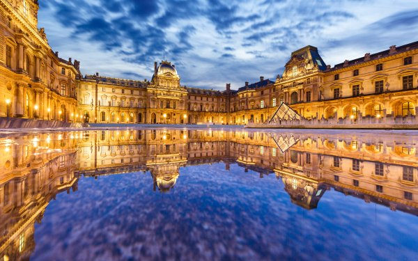 Man Made The Louvre Buildings Museum Reflection Night Light Paris France Monument Architecture HD Wallpaper | Background Image