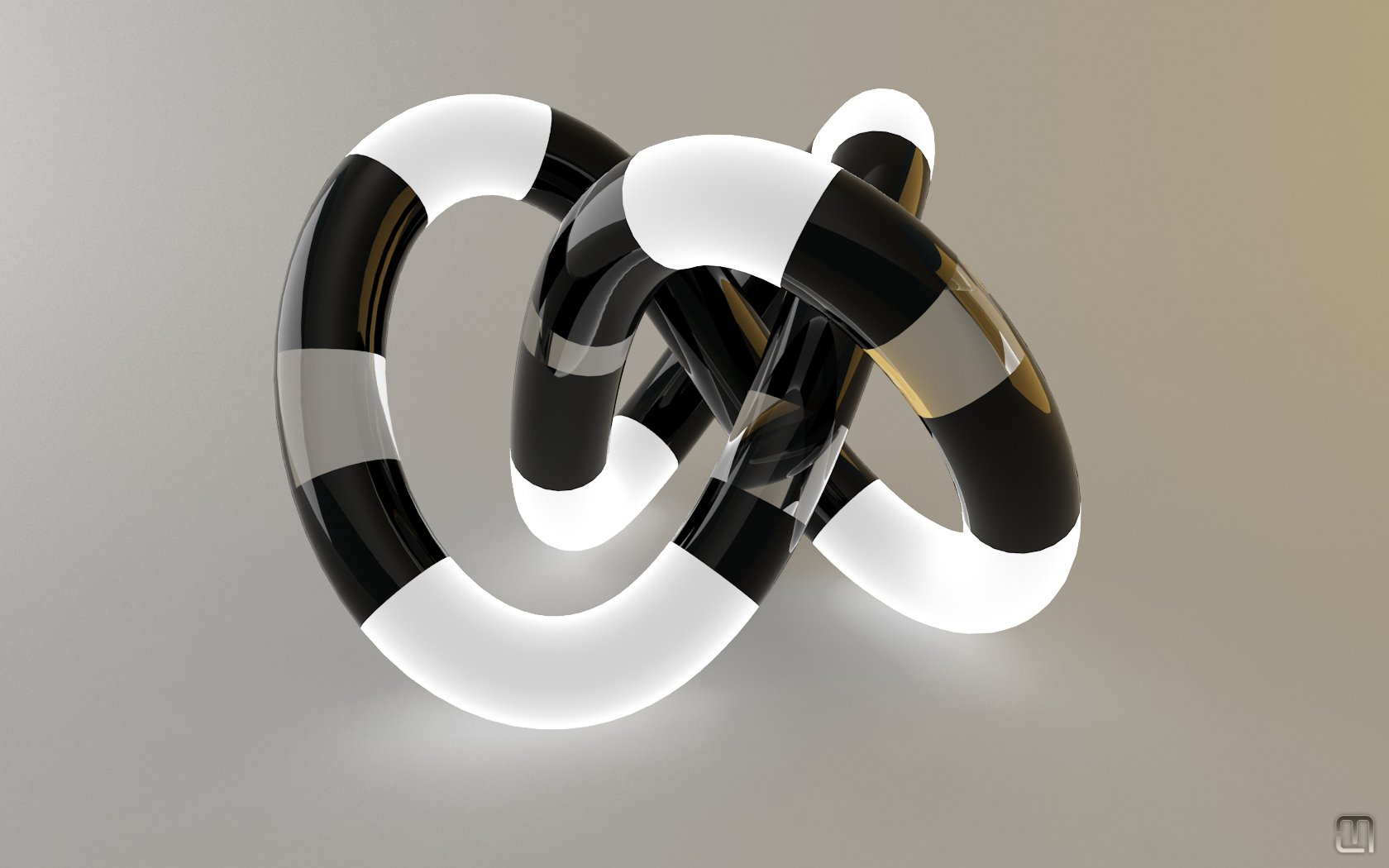CGI - Abstract  3D Digital CGI White Black Wallpaper