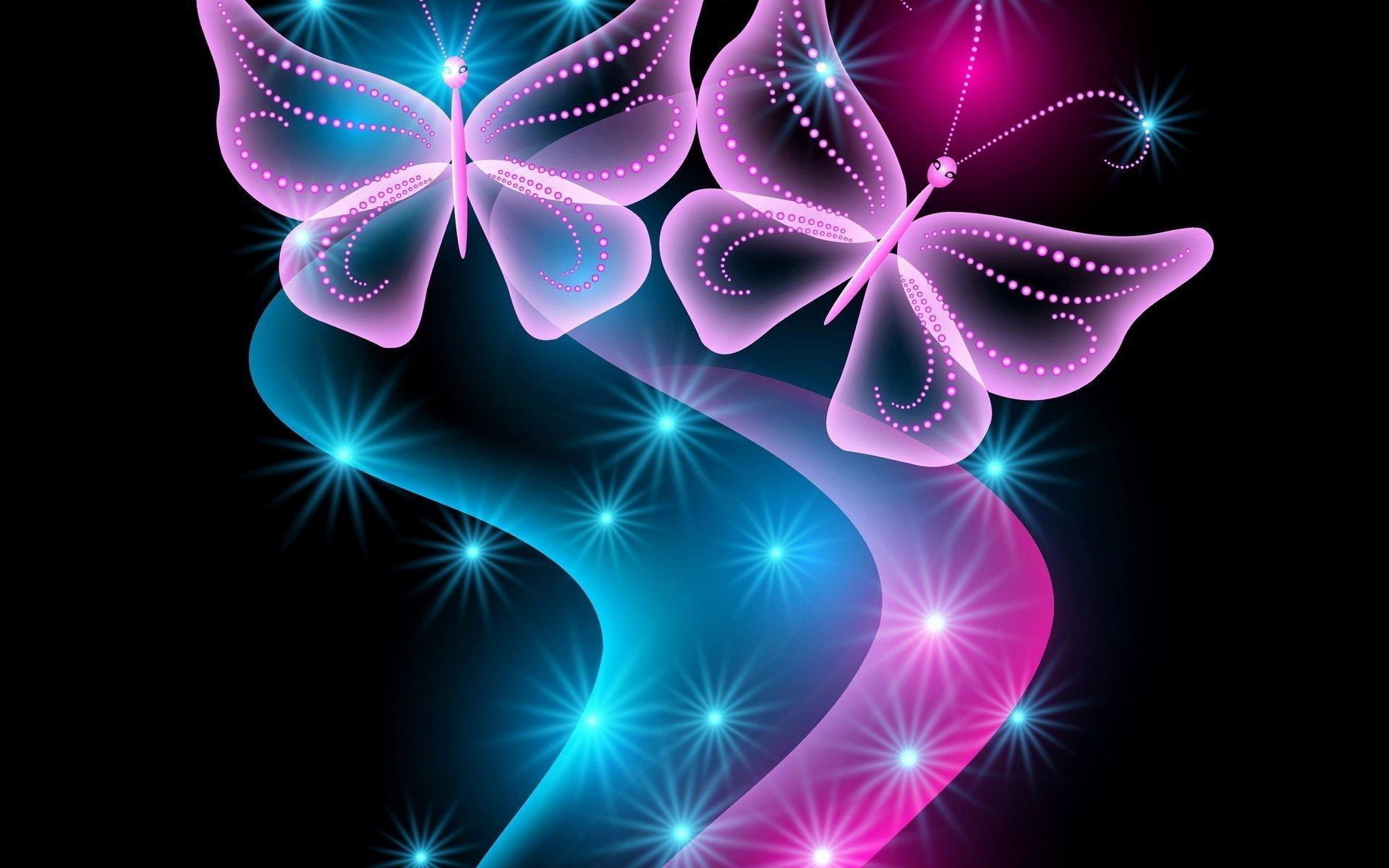 Neon Abstract Butterflies Papel De Parede HD
