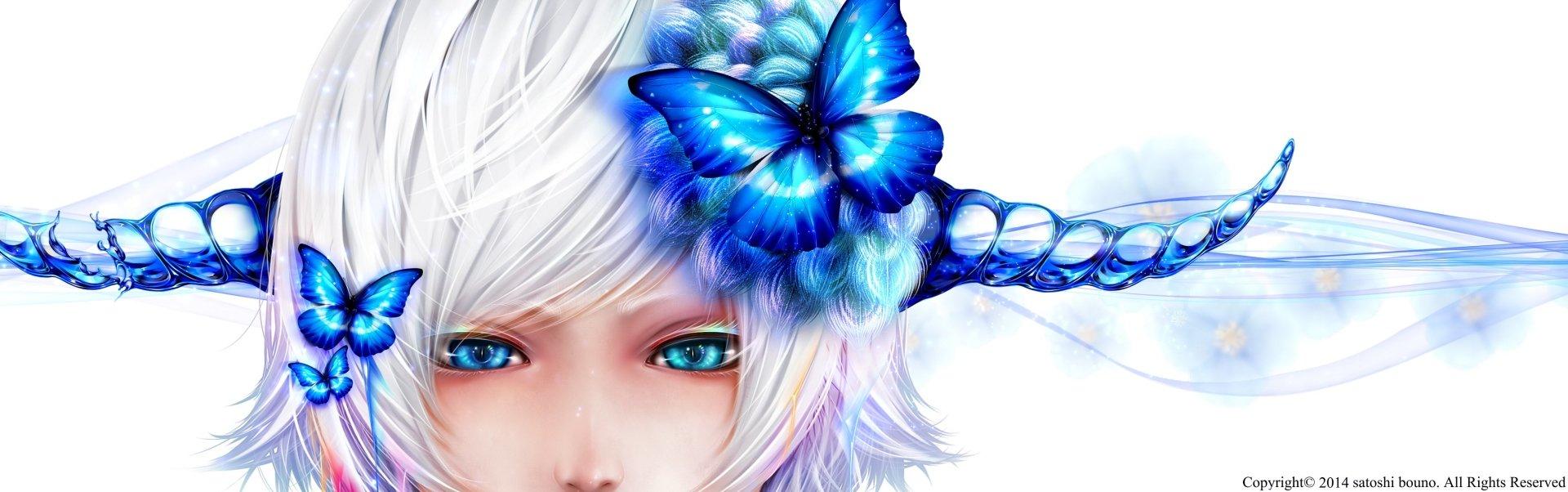 Anime - Original  Girl Fantasy Woman Butterfly Blue Horns White Hair White Blue Eyes Wallpaper