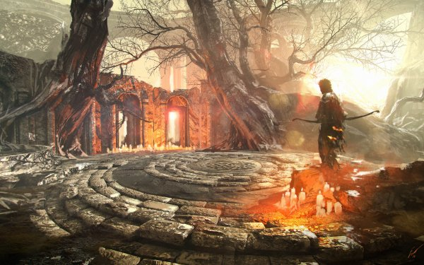 Fantasy Archer Warrior Candle Ruin HD Wallpaper | Background Image