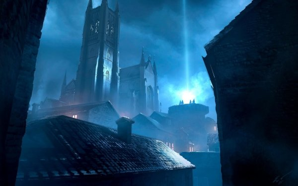 Fantasy City Cathedral Light Night Building Magic HD Wallpaper | Background Image