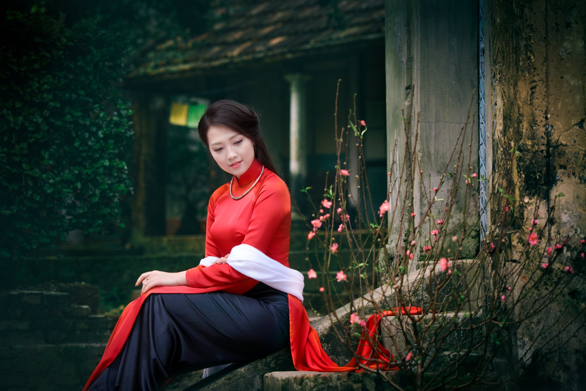 Women - Asian  Girl Vietnamese Ao Dai Wallpaper