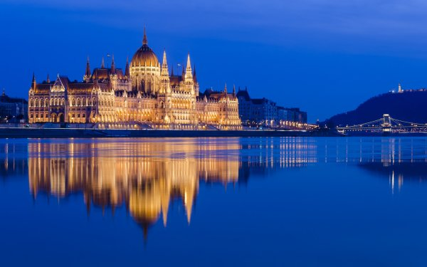 Man Made Hungarian Parliament Building Monuments Budapest Hungary Danube River Night Monument Architecture Reflection HD Wallpaper | Background Image
