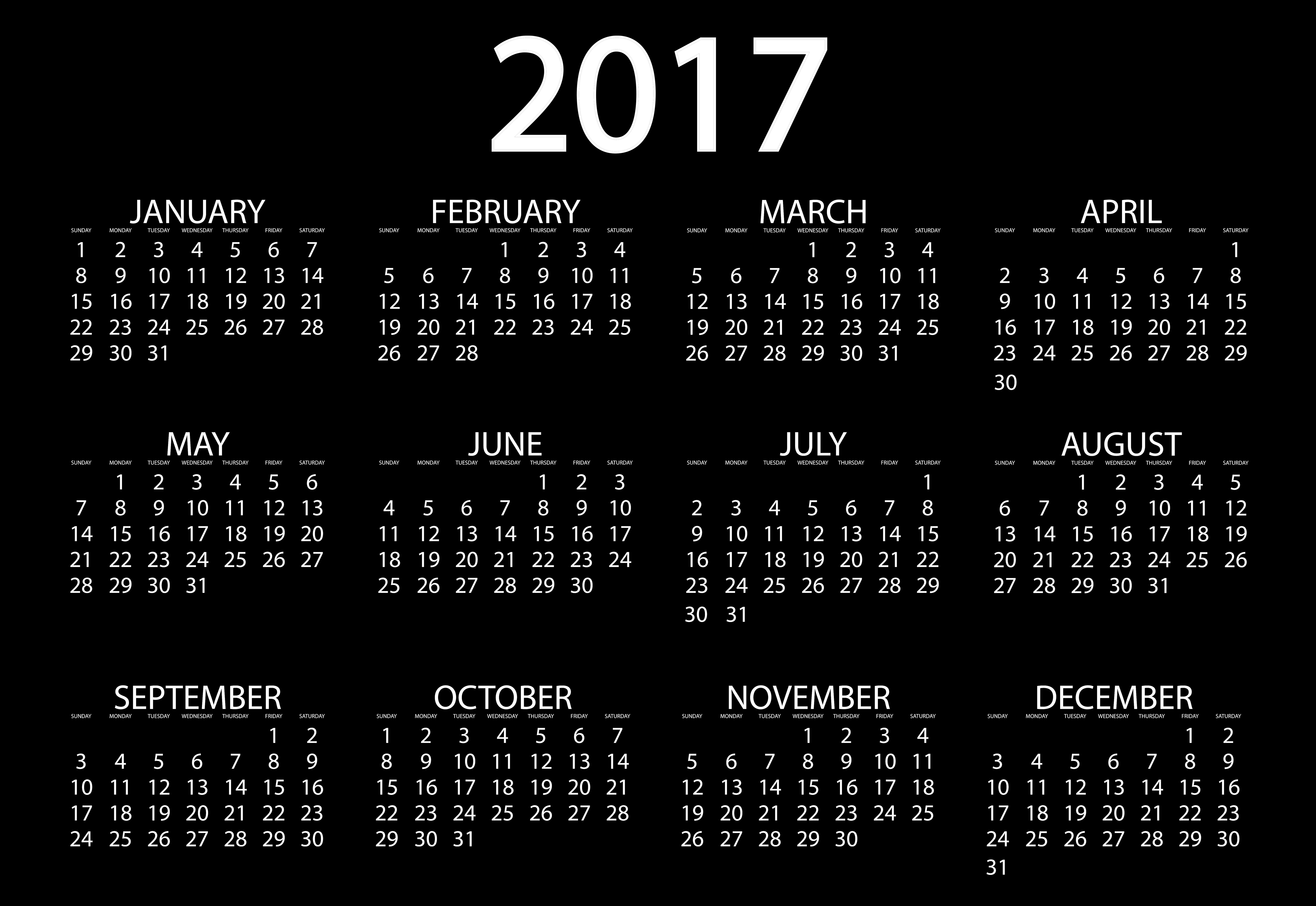 2017 Calendar Fondos de pantalla, Fondos de escritorio  6976x4805  ID:711524