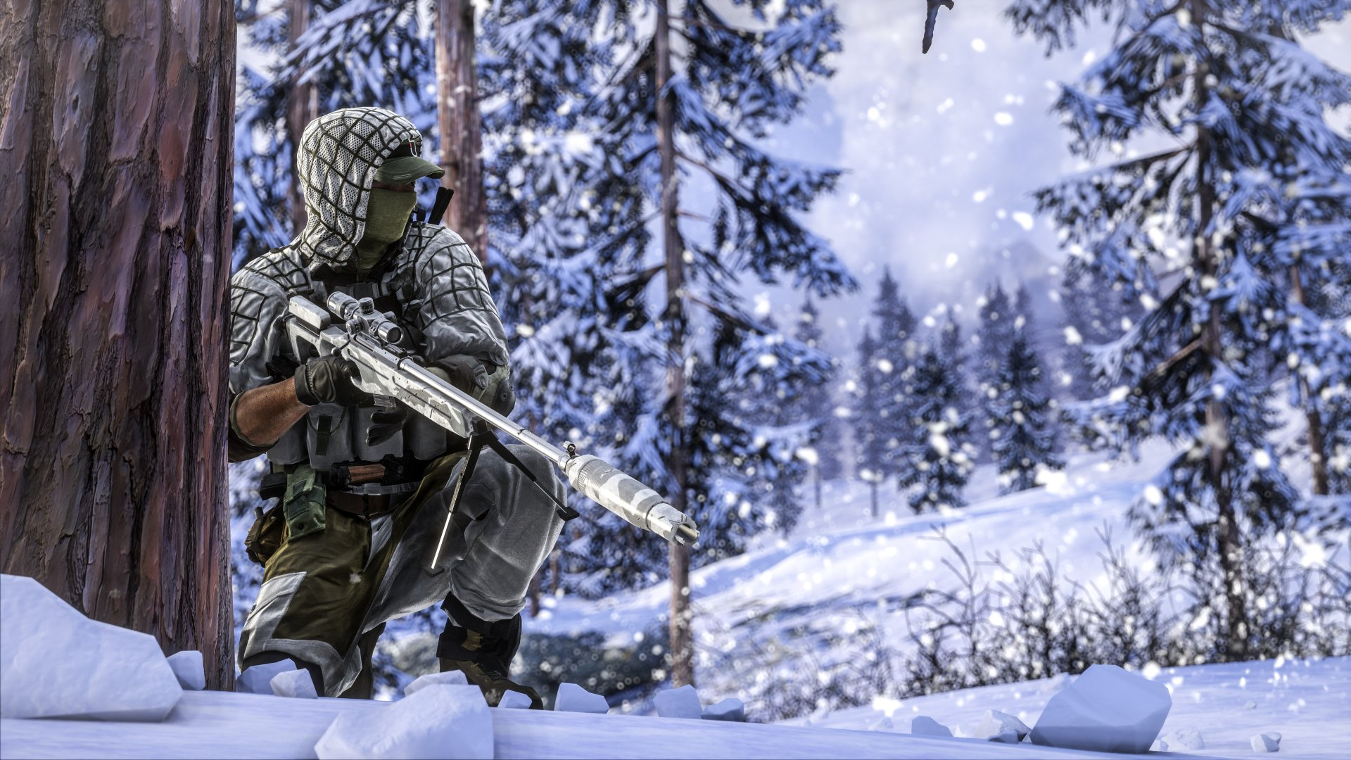 Video Game - Battlefield 4  Soldier Forest Winter Sniper Sniper Rifle Wallpaper