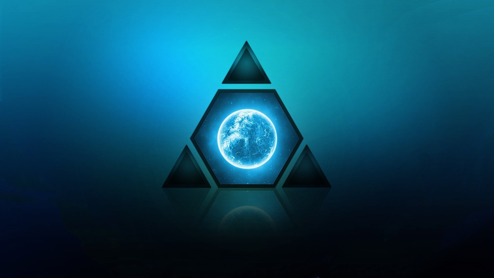 Earth - Artistic  Triangle Planet Blue Wallpaper