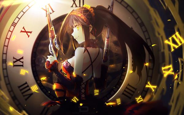 Anime Date A Live Kurumi Tokisaki Clock Orange Eyes Long Hair Dress HD Wallpaper | Background Image