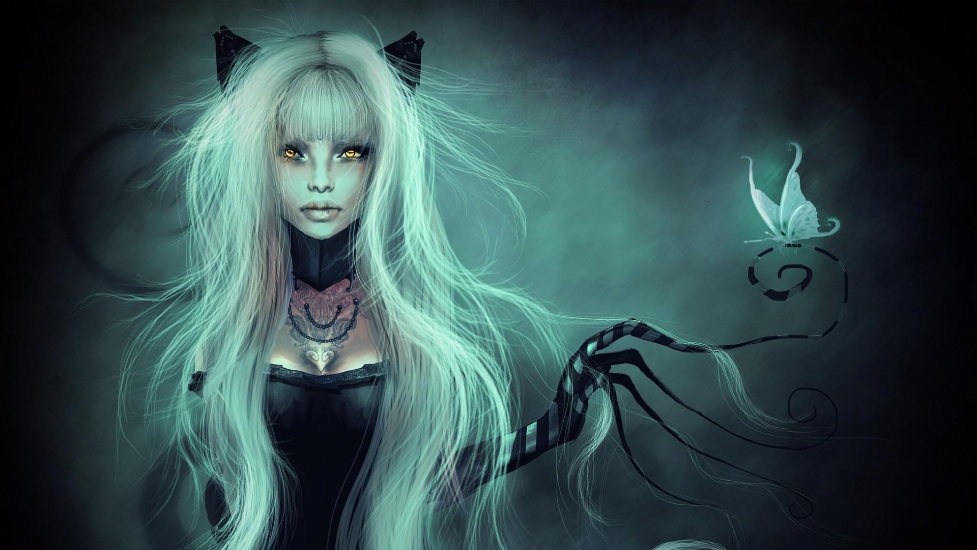 Fantasy cat woman full hd wallpaper and background image 1920x1080 fantasy women animal ears fantasy woman girl butterfly wallpaper voltagebd