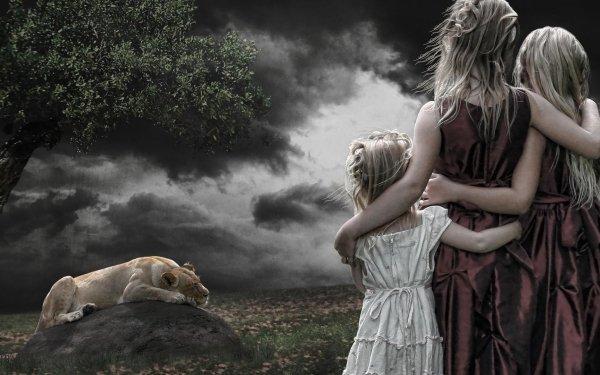 Fantaisie Lion Animaux Fantastique Sleeping Enfant Blonde Little Girl Fond d'écran HD | Arrière-Plan
