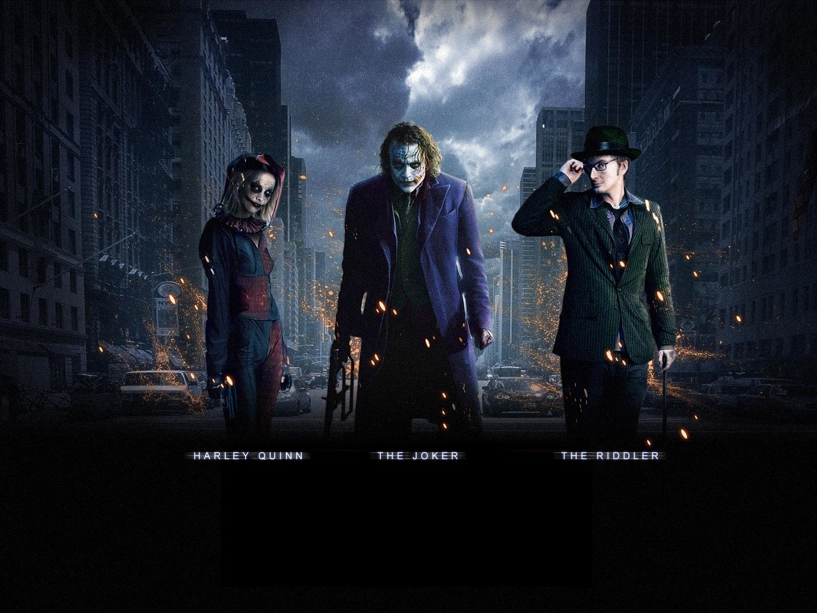 Movie - The Dark Knight  Batman Joker Harley Quinn Riddler Wallpaper