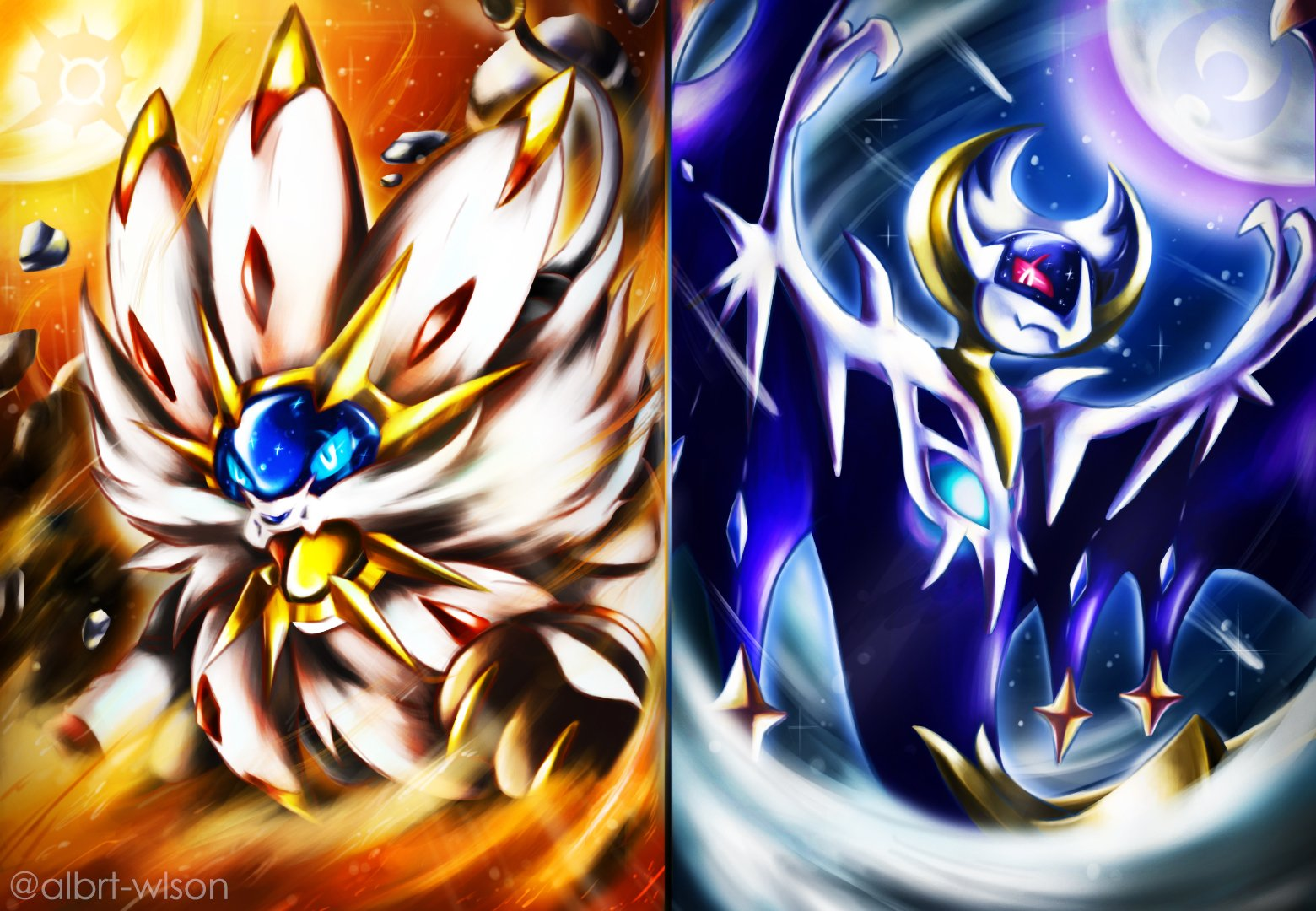Pokemon Sun And Moon Wallpaper: Solgaleo And Lunala Wallpaper And Background Image
