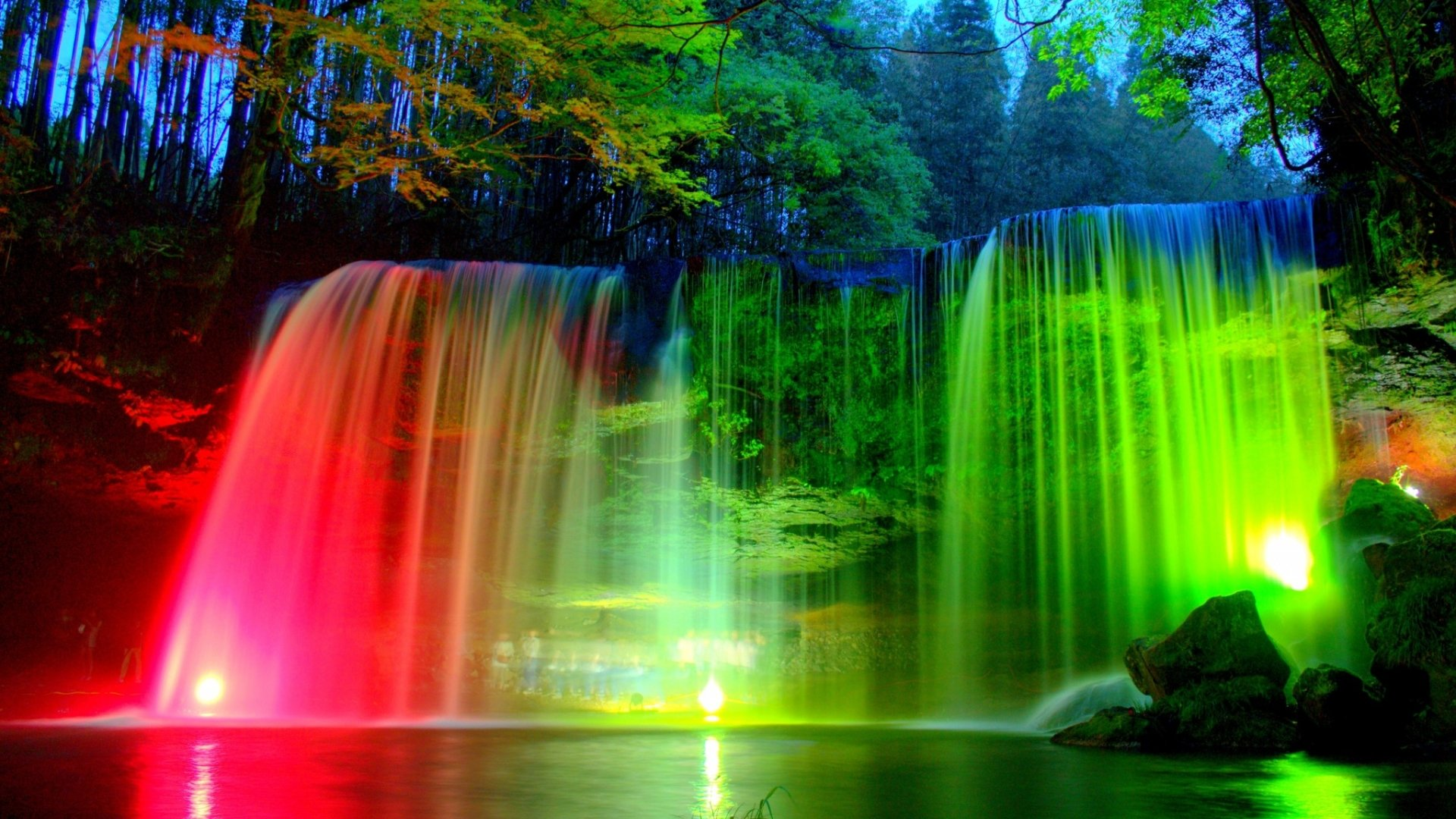 Illuminated Waterfall at Night HD Wallpaper | Background ... - photo#35