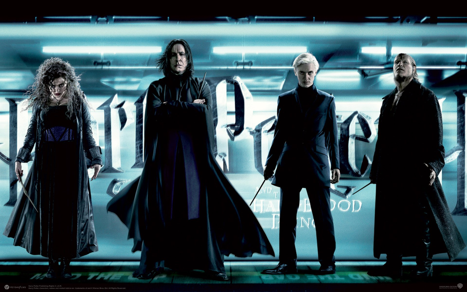 Movie - Harry Potter and the Half-Blood Prince  Bellatrix Lestrange Severus Snape Draco Malfoy Fenrir Wolf Greyback Alan Rickman Wallpaper