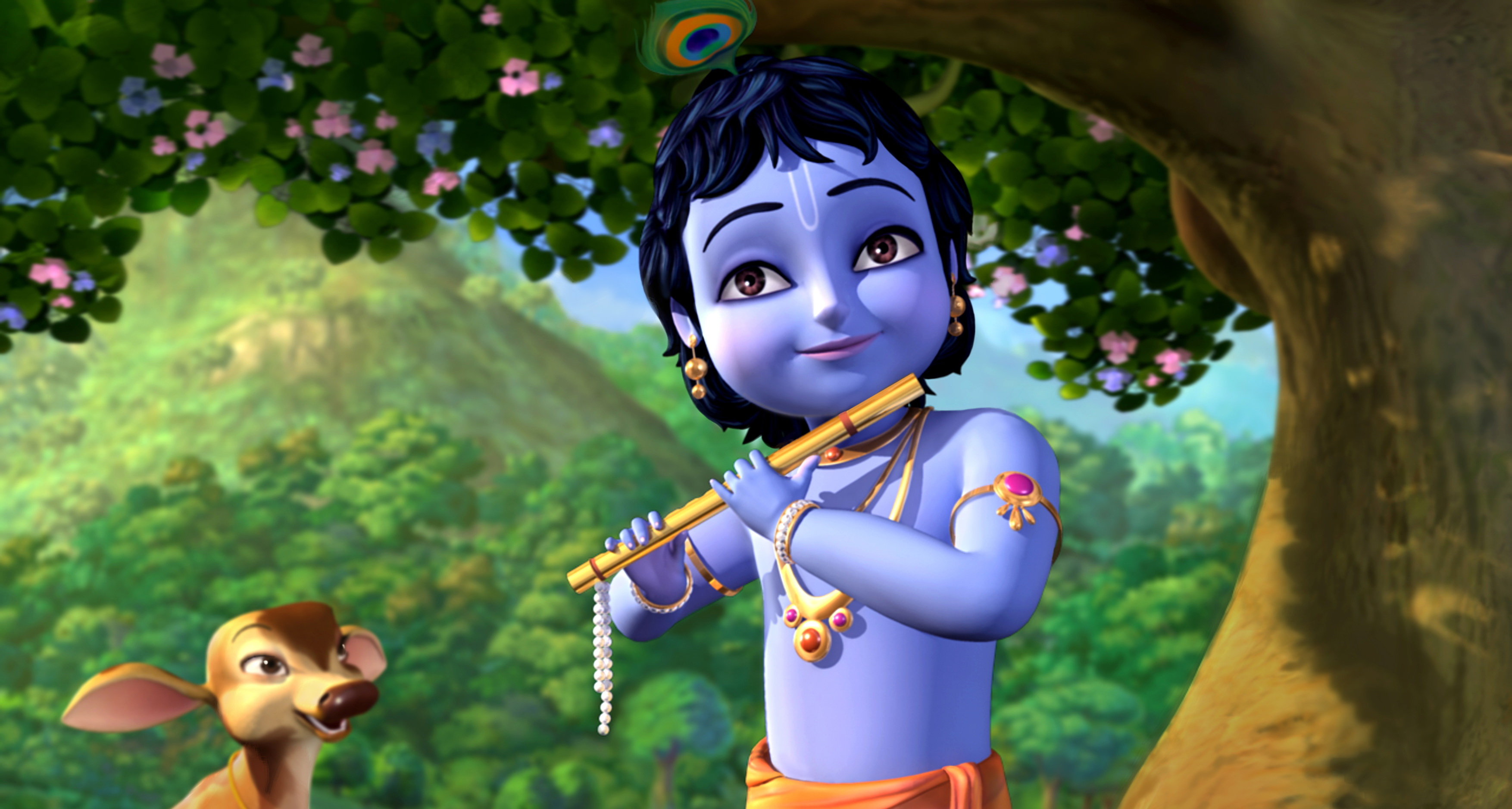 Little Krishna Hd Wallpaper Background Image 3508x1878