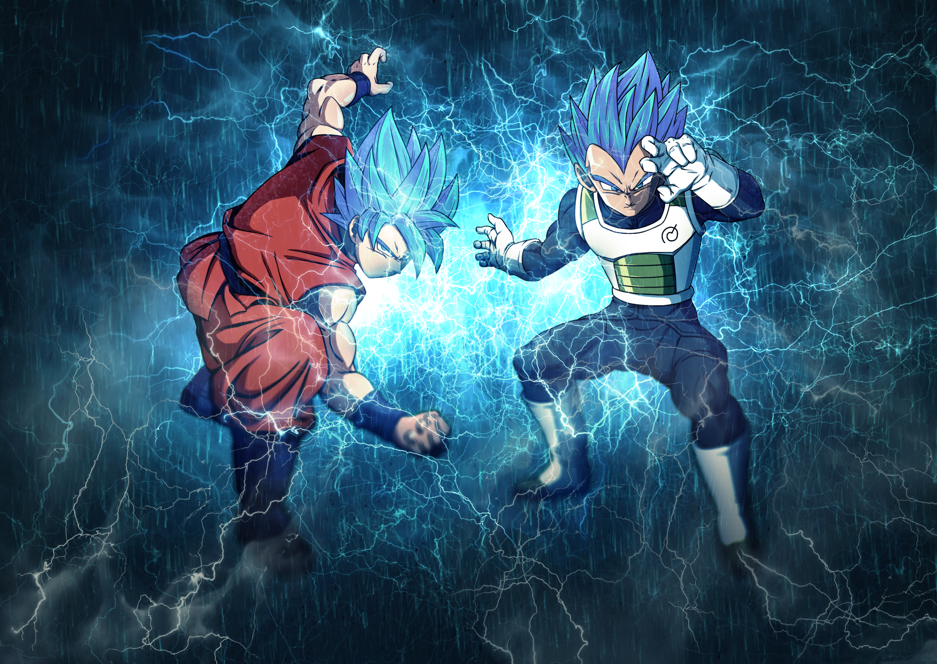 Super goku and super vegeta full hd fond d 39 cran and for Fond ecran dbz