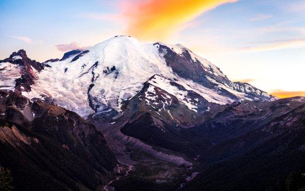 Earth Mount Rainier Mountains Mountain Nature Snow HD Wallpaper | Background Image