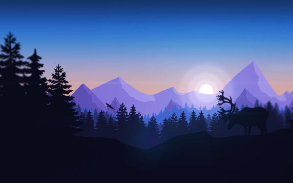 Artistic Mountain Minimalist Forest HD Wallpaper | Background Image