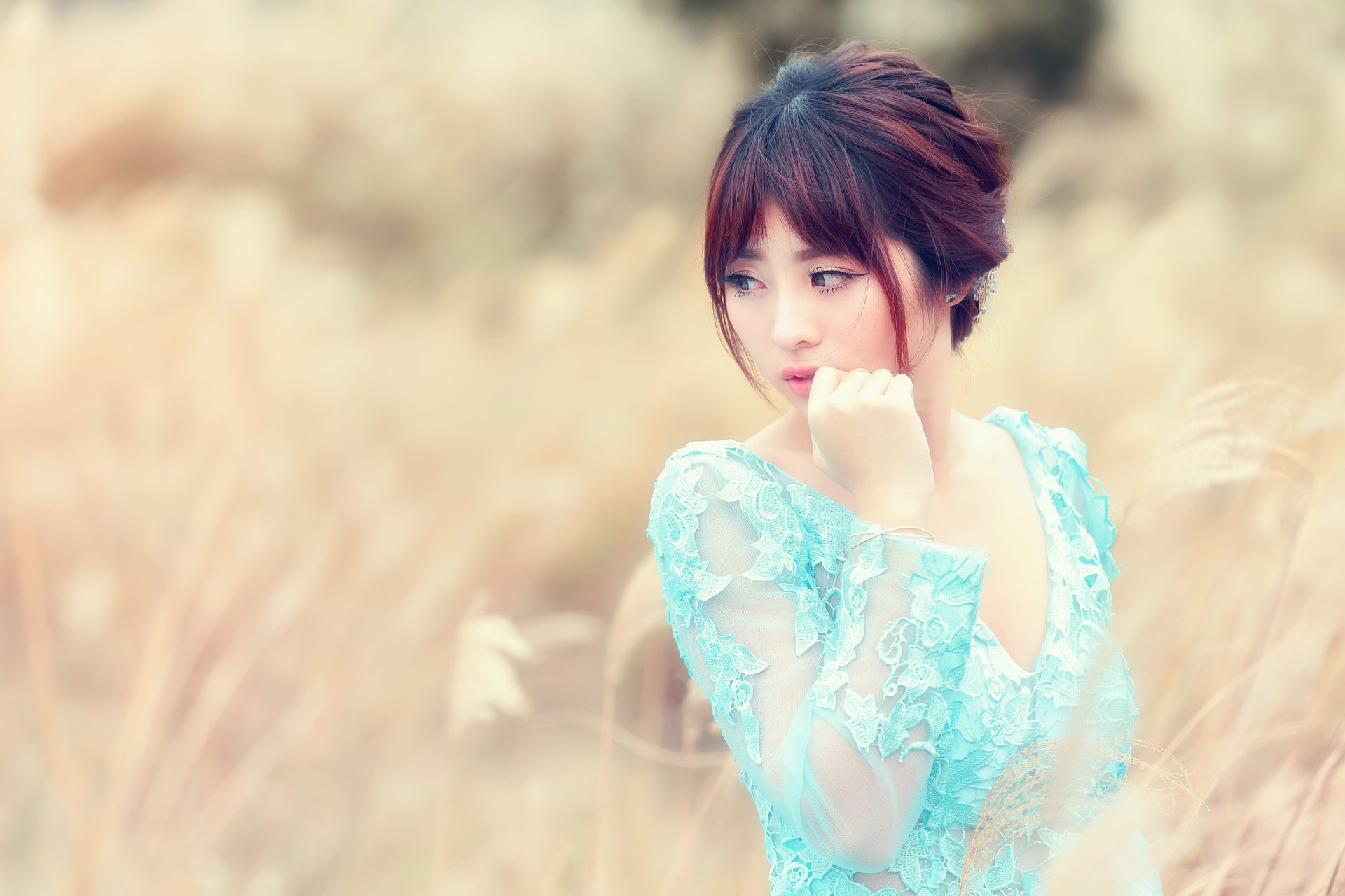 Women - Asian  Woman Girl Model Brunette Bokeh Wallpaper