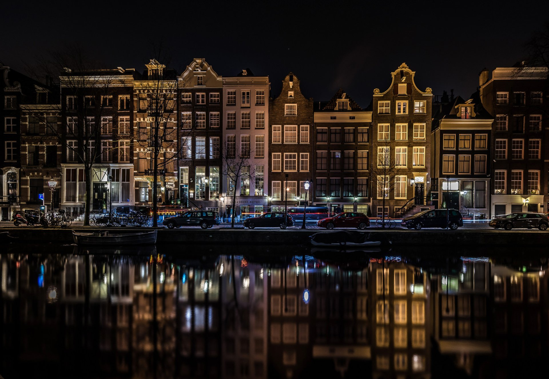 Man Made - Amsterdam  Netherlands Canal Night House Reflection Light Wallpaper